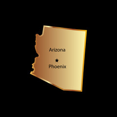 Gold arizona state mapa with names