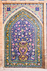 Tiled oriental ornaments from Agha Bozorg mosque in Kashan