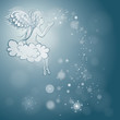 Angel makes snowflakes / Blue sky background