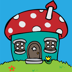 Cartoon vector illustration of a house in mushroom shape