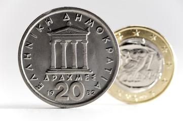 Griechische Drachme und griechische Ein-Euro-Münze