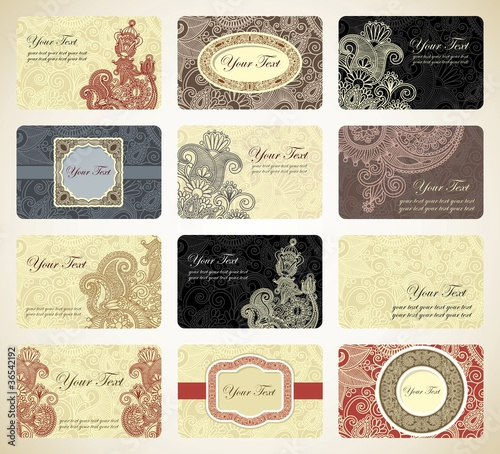 Various vintage ornamental business card collection