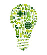 Green bulb with environmental icons