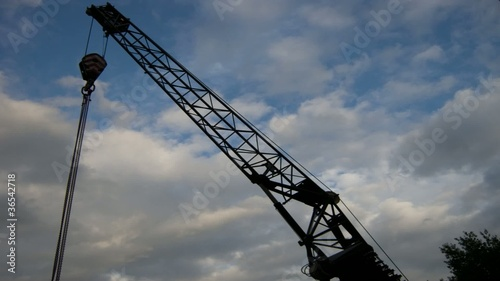 Crane under the sunset Sky