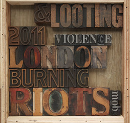 London riot words in old type
