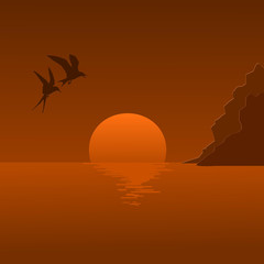 Vector illustration of a sunrise and flying seagulls