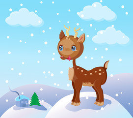 christmas winter scene with a cartoon reindeer