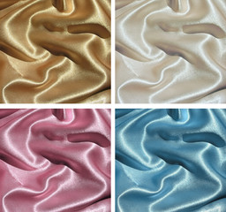 Set of 4 fabric backgrounds - draped satin of pastel colors