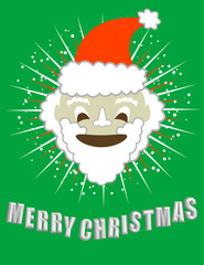 Merry Christmas! With Santa's Smiling Face! Vector / Clip Art