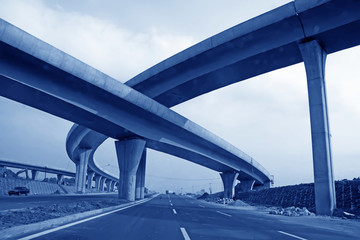 closeup of unfinished overpass in china