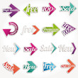 Colorful arrows collection of sale new labels stickers banners