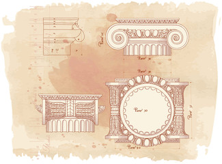 Hand draw sketch ionic architectural order & vintage watercolor