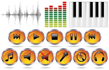 Musica Icone Registrazione-Music Icons Record-Vector