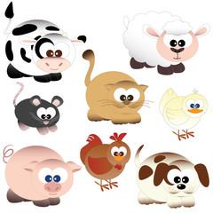 animali della fattoria mucca gatto maiale pecora topo gallina