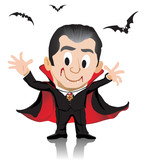Isolated Dracula with costume scare drink blood with bats flying