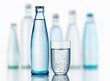 canvas print picture - Mineralwasserflasche mit Glas
