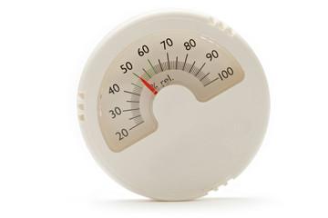Hygrometer on the white background