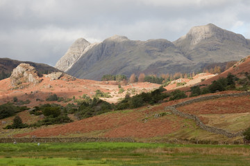 Langdale Pikes from Little Langdale, Lake District, Cumbria