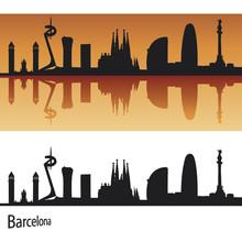 Barcelona skyline w pomarańczowym tle