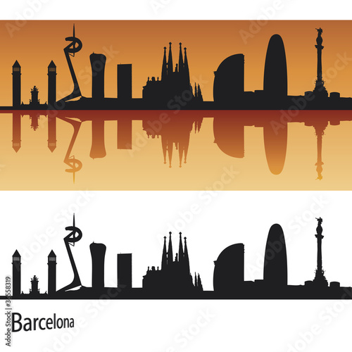 Barcelona skyline in orange background