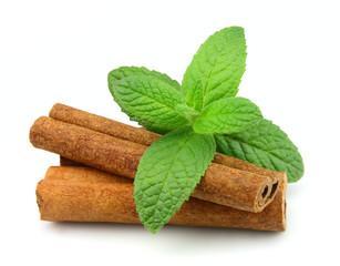 Sticks of cinnamon with mint