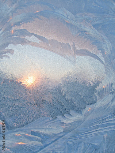 frozen glass and sunlight