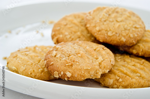 Oat Biscuits on White China Plate