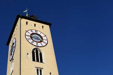Clock tower in Regensburg, Germany