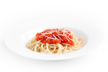 Spaghetti with tomato sauce and cheese