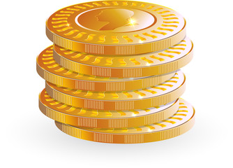 gold vector coins pile up on white background