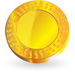 gold coin isolated on white background vector format