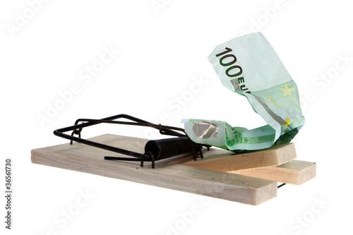 Falle mit Geldschein als Köder