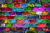 Fototapety Rainbow colourful brick wall (background)