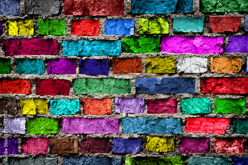 Rainbow colourful brick wall (background)