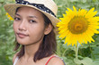 Girl in the field of sunflowers ..