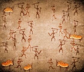 prehistoric cave painting with war scene