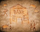 prehistoric cave painting with bank