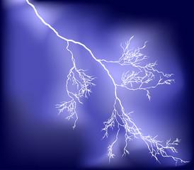 bright lightning in dark sky illustration