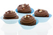 Chocolate cupcake with decorations on white.
