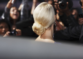 Close up of celebrity's hairstyle