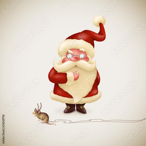 Santa Claus with a strange little reindeer