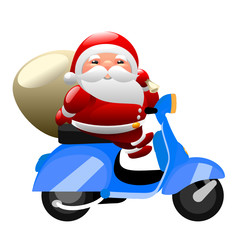 Santa riding a scooter
