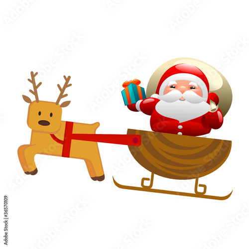 Santa with sleigh and deer