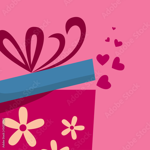 Gift box with fly hearts