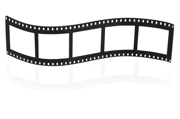 Blank film strip on white.