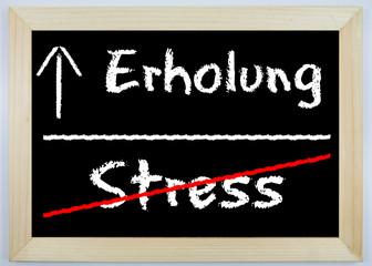 Schild - Stress / Erholung