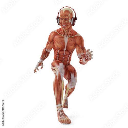 muscle man dj walking crouched