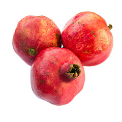 Three pomegranates, isolated on white background