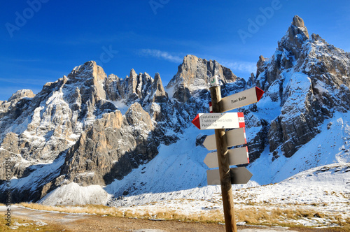 Signs for the trails at Pale di San Martino, Alps, Italy
