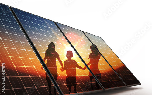 canvas print picture Isolated Photovoltaic cells, children walking hand in hand